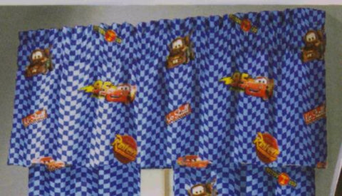 Disney Pixar Cars Rust-eze Window Valance Lot 2 Topper Kids Room Blue Flag Mater