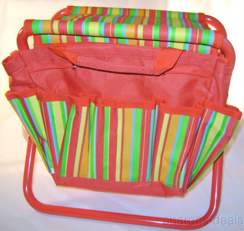 Kids Stool With Tote Midwest Gloves Gear Pockets Striped Colorful Metal Sturdy - FUNsational Finds - 1