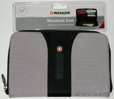 Lot 2 Wenger Travel Document Case Gray Black Swiss Gear Carabiner Belt Loop Mesh - FUNsational Finds