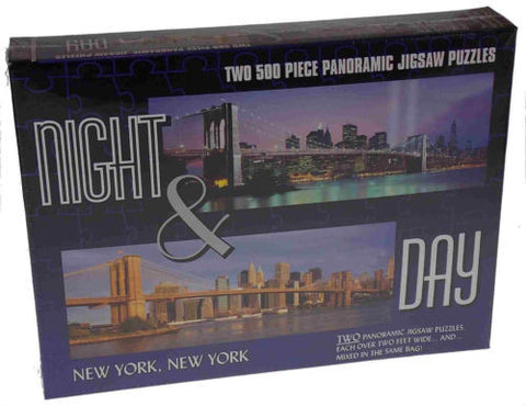 2 Puzzles Night & Day City New York City 500 Pc Panoramic Jigsaw Puzzles 2' NYC - FUNsational Finds