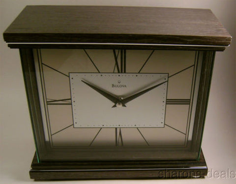 Bulova B7656 Preston Mantel Clock Dk Wood Aluminum Mantle Chrome Battery Analog - FUNsational Finds - 1