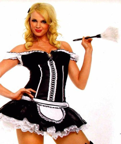 Leg Avenue Naughty French Maid XS Sexy Halloween Costume Cosplay Dress Duster - FUNsational Finds - 1
