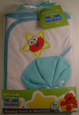 Sesame Street Beginnings Hooded Towel Washcloth 0+ Month Light Blue Elmo Pal NEW - FUNsational Finds - 1
