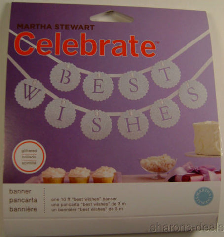 Lot 6 Martha Stewart Celebrate Best Wishes Banner 10 Foot Glittered Assembled - FUNsational Finds