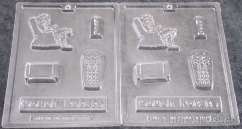 Lot 2 Couch Potato Chocolate Molds Life Of The Party 3D D95 Candy Soap TV Remote - FUNsational Finds - 1