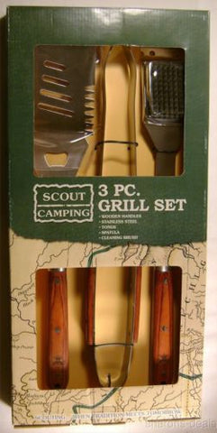 Boy Scout Camping 3 Piece Grill Set Wood Stainless Tong Spatula Clean Brush BSA - FUNsational Finds - 1