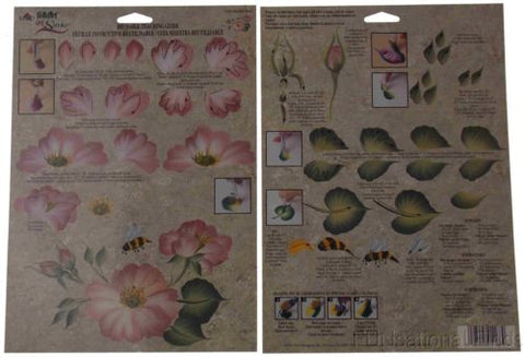 Lot 35 FolkArt One Stroke Painting Reusable Teaching Guide Garden Rose 1168 NEW - FUNsational Finds - 1