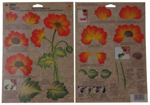 Lot 36 FolkArt One Stroke Painting Reusable Teaching Guide Poppies 1147 Flowers - FUNsational Finds - 1