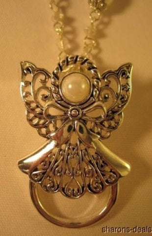 "Necklace Angel Silvertone Faux Pearl 30"" Pendant Religious Easter Free Ship - FUNsational Finds - 1"