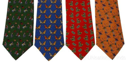 Lot 4 Olimpo 100% Silk Neck Ties Circus Clown Juggling Unicycle Elephants Horses - FUNsational Finds - 1