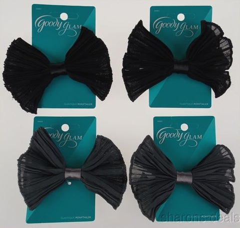 Goody Glam Set 4 Black Gray Bow Ponytailer Hairband Pony Tail Chiffon Fabric NEW - FUNsational Finds