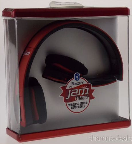 HMDX Bluetooth Jam Fusion Wireless Foldable Stereo Headphones Red HX-HP610RD NEW - FUNsational Finds - 1