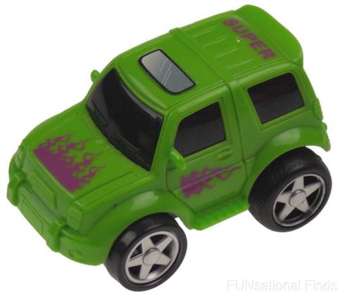 Lot 6 Green 4WD Super Truck Jeep Pull Back Car Toy Flames Party Favor Runs Moves - FUNsational Finds - 1
