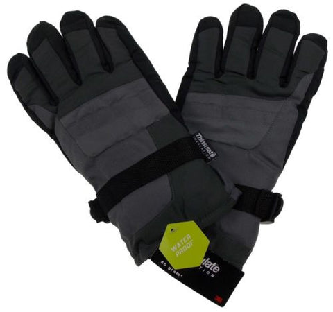 Athletech Mens Gray Black Ski Gloves 3M Thinsulate Insulation Waterproof Hiking - FUNsational Finds - 1