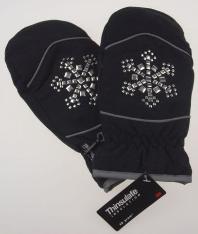 Joe Boxer Girls Black Mittens Silver Snowflake 3M Thinsulate Insulation Warm NEW - FUNsational Finds - 1