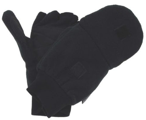 Black Athletech Convertible Gloves Mittens Work 3M Thinsulate Mens Soft Fleece - FUNsational Finds - 1