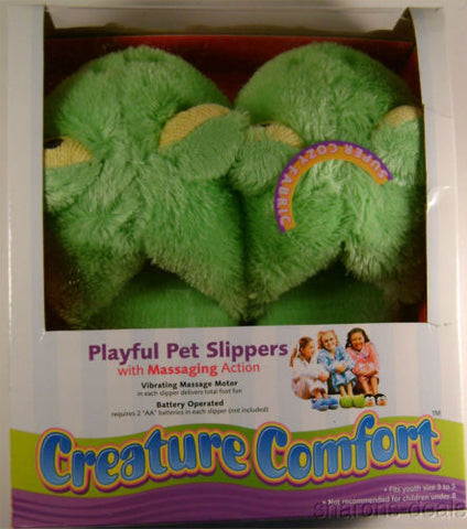 Creature Comfort Youth Massaging Frog Slippers Sz 3-5 Playful Pet Slip On Plush - FUNsational Finds - 1