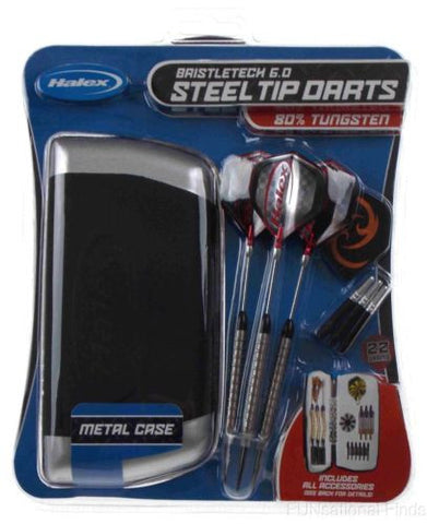 Darts Halex Bristletech 6.0 Steel Tip Set 80% Tungsten Aluminum Case Stone 22 g - FUNsational Finds - 1
