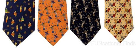 Lot 4 Olimpo 100% Silk Neck Ties Juggling Circus Clown Unicycle Elephants Tiger - FUNsational Finds - 1