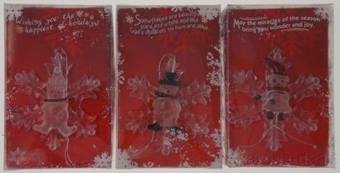 Lot 3 Holiday Glow Glass Snowflake Ornaments Snowman Girl Boy Bear Handpainted - FUNsational Finds - 1