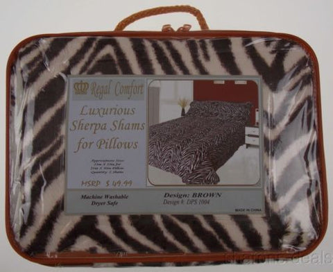 Set 2 Sherpa Pillow Shams Brown Animal Print Regal Comfort Luxurious DPS1004 NEW - FUNsational Finds - 1