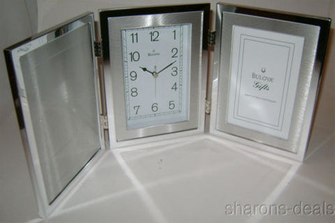 Lot 31 Bulova B1235 Remeberence Picture Frame Clock Anniversary Baby Graduation - FUNsational Finds - 1
