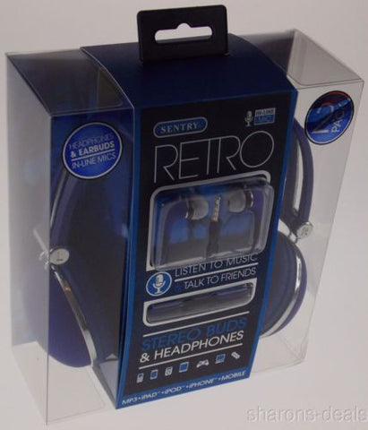Sentry Retro Stereo Buds & Headphones Blue Earbuds Mic In Line HC400 For iPhone - FUNsational Finds - 1