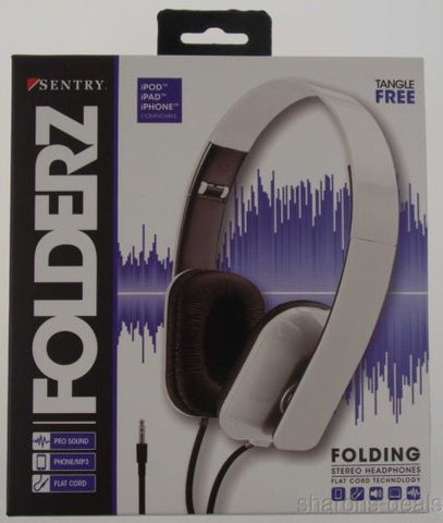 Sentry Folderz Folding Stereo Headphones White DLX20 Tangle Free Flat Cord 3.5mm - FUNsational Finds - 1