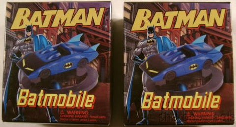 Set 2 DC Comics Batman Batmobile Mega Mini Kits Books Model Car Display Base NEW - FUNsational Finds - 1