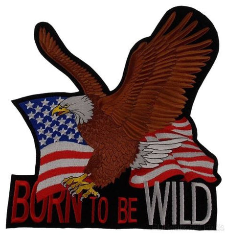 US Flag Eagle Patch Born To Be Wild Embroidered Jacket Vest Motorcycle Patriotic - FUNsational Finds - 1