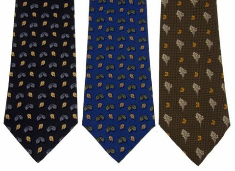 Lot 3 Olimpo 100% Silk Neckties Leaves Leaf Classic Dress Business Fall Autumn - FUNsational Finds - 1