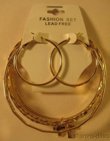 Lot 8 Sets Religious Cross Pierced Hoop Earrings Bracelets Gold Party Favors NEW - FUNsational Finds - 1