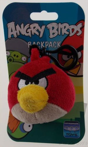 "Lot 2 Angry Birds Backpack Zipper Clip Pull Red Plush 3"" Rovio Cardinal Stuffed - FUNsational Finds"