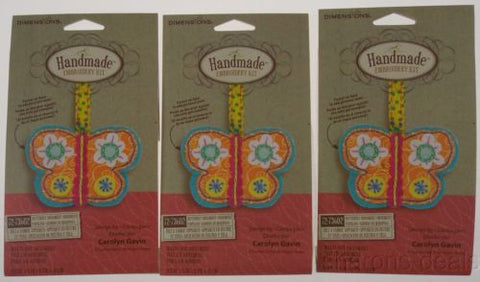 Dimensions Handmade Embroidery Kit Lot 3 Butterfly Ornament 72-73602 Gavin NEW - FUNsational Finds - 1