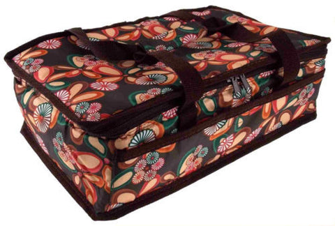 13x8 Rectangle Casserole Food Dish Insulated Travel Carry Bag Tote Brown Floral - FUNsational Finds - 1
