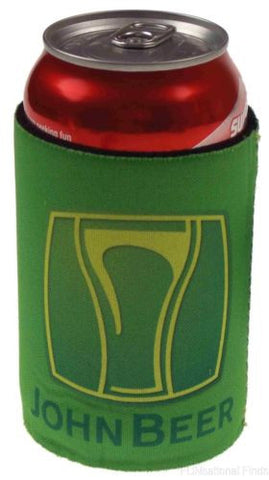 Lot of 3 Green John Beer Refrigerator Can Cooler Cover Koozie Gag Gift Redneck - FUNsational Finds - 1