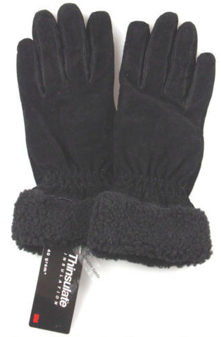 Jaclyn Smith Leather Plush Fur Suede Gloves 3M 40g Thinsulate Black Driving NEW - FUNsational Finds - 1