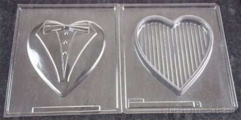 Large Heart Box Lid 2 Pc Set Chocolate Mold 3D Cybr Trayd Tuxedo Bridal Shower - FUNsational Finds - 1