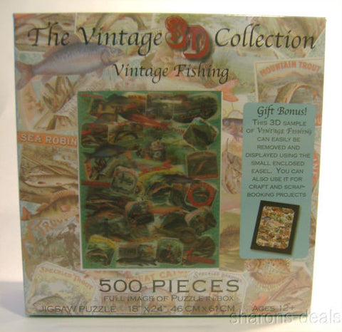 "Vintage Fishing Jigsaw Puzzle 500 Pieces 18""x24"" 3D Collection Picture Easel NEW - FUNsational Finds"