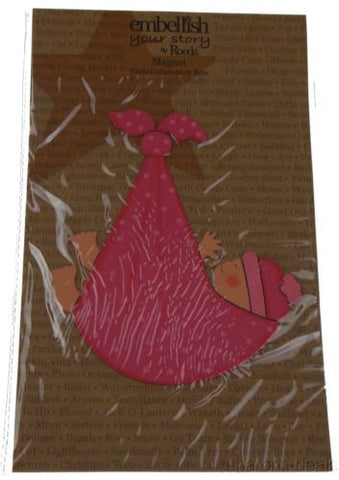 Lot 3 Embellish Your Story Roeda Magnet Pink Baby Girl Stork Bundle Hand Painted - FUNsational Finds - 1