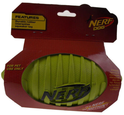 "Nerf Dog Green Interactive Squeaker Toy 7"" Durable Rubber Football Squeaks NEW - FUNsational Finds - 1"