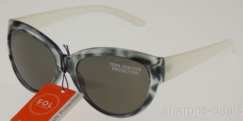 Sol Classic Sunglasses 100% UV Protection Gray White Plastic Cat Eye 55-18-140 - FUNsational Finds - 1