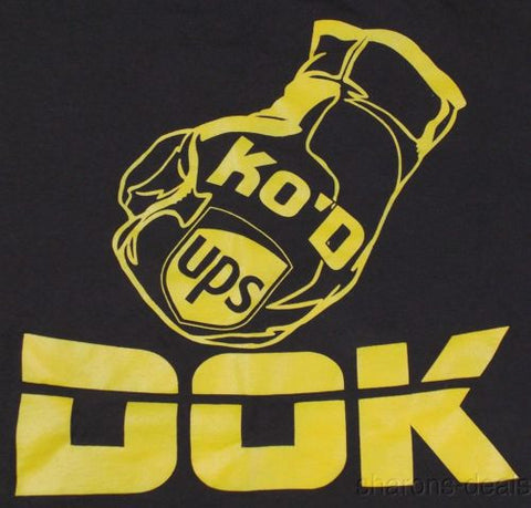 Gildan Dry Blend UPS T Shirt Medium KO'D DOK Brown Yellow Boxing Glove Short SS - FUNsational Finds - 1