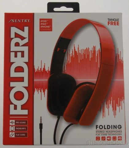 Sentry Folderz Folding Stereo Headphones Red DLX20 Tangle Free Flat Cord 3.5mm - FUNsational Finds - 1