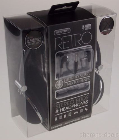 Sentry Retro Stereo Buds & Headphones Black Earbuds Mic In Line HC400 For iPhone - FUNsational Finds - 1