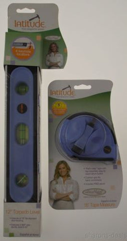 Latitude 2 Pc Tool Set 16' Tape Measure Level Tracy HutsonTools Designed Women - FUNsational Finds - 1