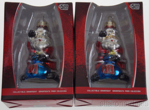Dale Earnhardt Jr NASCAR Figurine Santa Glass Ornament Set 2 Blue Christmas Tree - FUNsational Finds - 1