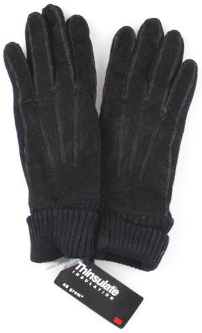 Jaclyn Smith Leather Polyester Suede Knit Gloves 3M Thinsulate Winter Choice NEW - FUNsational Finds - 1