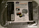 Lock & Lock Lunch Box Bag Set HPL762DG Gray Zippered Containers Lids Spoon Fork - FUNsational Finds - 1