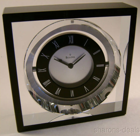 NEW Bulova B9860 Orion Executive Desk Clock Pivoting Clear Crystal Black 2.5 lbs - FUNsational Finds - 1